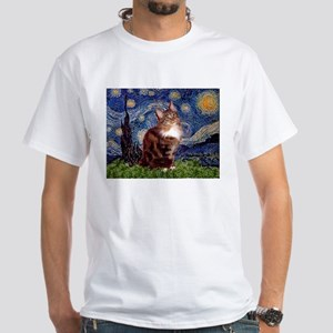 Starry Maine Coon White T-Shirt