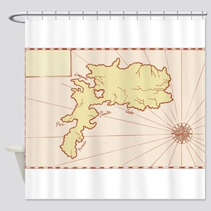 Vintage Map of Island Shower Curtain