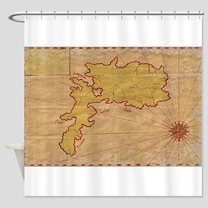 Vintage Map of Island Grunge Shower Curtain