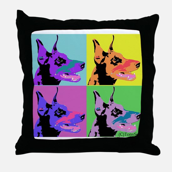 Doberman Pop Art Throw Pillow