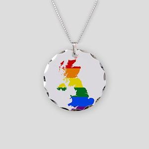 Rainbow Pride Flag United Kingdom Map Necklace Cir