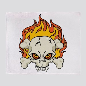 Flaming Skull and Crossbones Throw Blanket