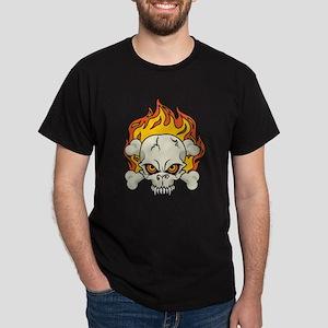Flaming Skull and Crossbones Dark T-Shirt
