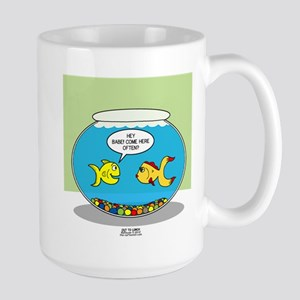 Fishbowl Pickup Lines Cartoon Large Mug