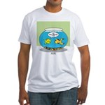 Fishbowl Pickup Lines Cartoon Fitted T-Shirt