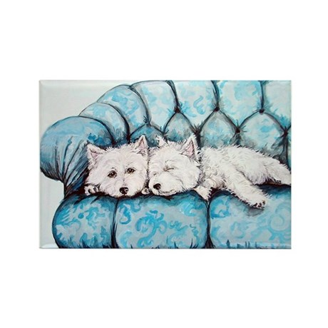 Westie Couch Potatoes Rectangle Magnet