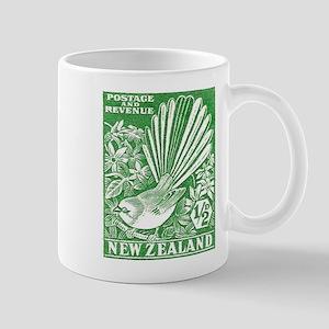 1937 New Zealand Fantail Bird Postage Stamp Green