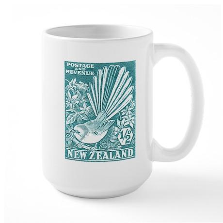 1937 New Zealand Fantail Bird Postage Stamp Aqua L