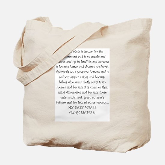 Mouse Made Cloth Diaper Text large Tote Bag