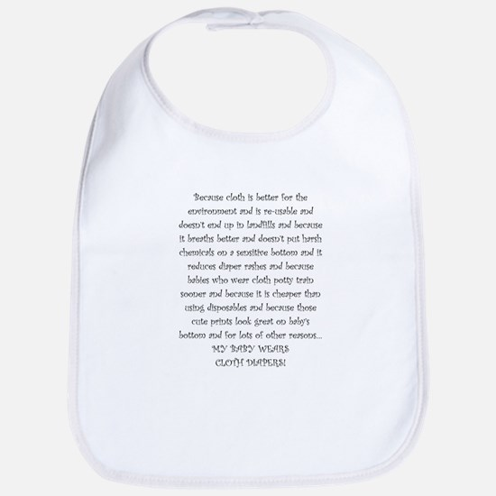 Mouse Made Cloth Diaper Text large Bib