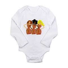 Three Abstract Divas Long Sleeve Infant Bodysuit