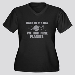 We Had Nine Planets Women's Plus Size V-Neck Dark