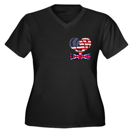 2012 USA London Women's Plus Size V-Neck Dark T-Sh