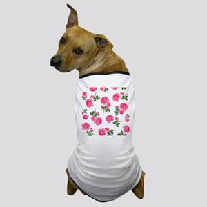Hot Pink Rose Floral Pattern on White Dog T-Shirt