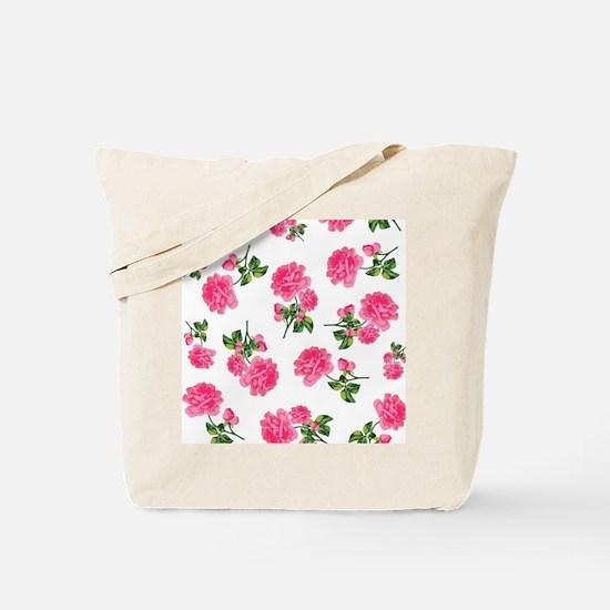 Hot Pink Rose Floral Pattern on White Tote Bag