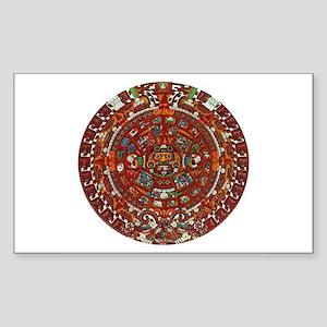 Aztec Calendar Rectangle Sticker