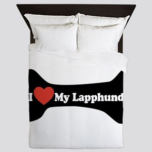 I Love My Lapphund - Dog Bone Queen Duvet