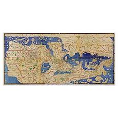 Al-Idrisi's world map, 1154 Poster
