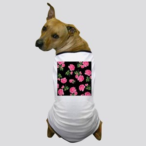 Elegant Pink Roses on Black Dog T-Shirt