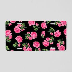Elegant Pink Roses on Black Aluminum License Plate