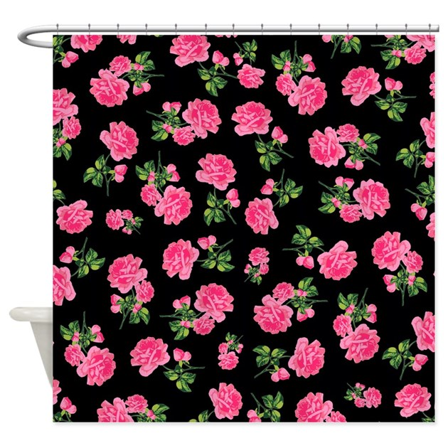 pink and black shower curtain.  Elegant Pink Roses on Black Shower Curtain by InspirationzStore
