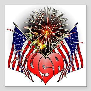 """Celebrate America 3 Square Car Magnet 3"""" x 3"""""""
