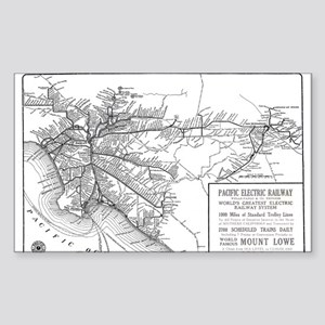 Pacific Electric Map Sticker (Rectangle)