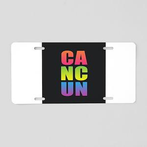 Cancun Black Rainbow Aluminum License Plate