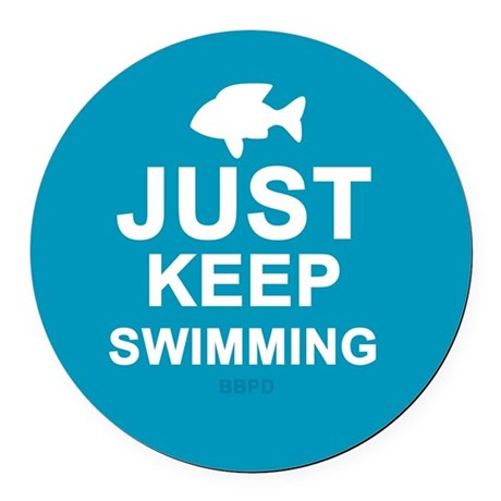 Keep Swimming Round Car Magnet