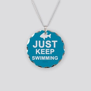 Keep Swimming Necklace Circle Charm