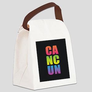 Cancun Black Rainbow Canvas Lunch Bag