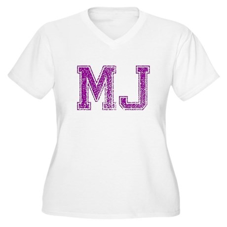 MJ, Vintage Women's Plus Size V-Neck T-Shirt