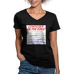 composer on the edge Women's V-Neck Dark T-Shirt