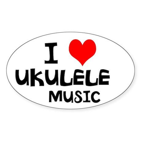 I Love Ukulele Music Sticker (Oval)