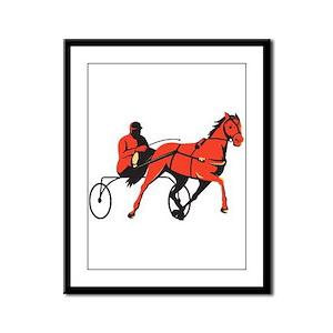 harness horse cart racing retro Framed Panel Print