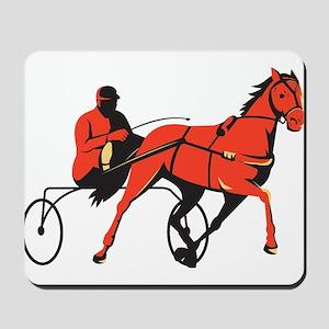 harness horse cart racing retro Mousepad
