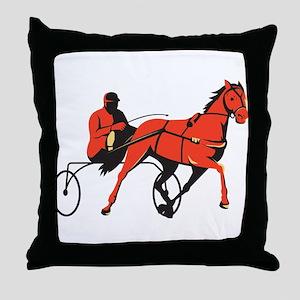 harness horse cart racing retro Throw Pillow
