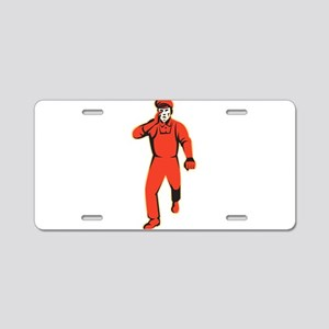 worker marching shouting retro Aluminum License Pl