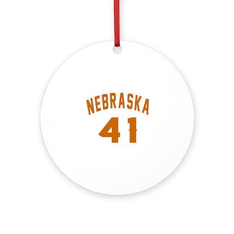 Nebraska 41 Birthday Designs Round Ornament