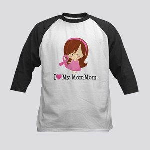 MomMom Breast Cancer Support Kids Baseball Jersey