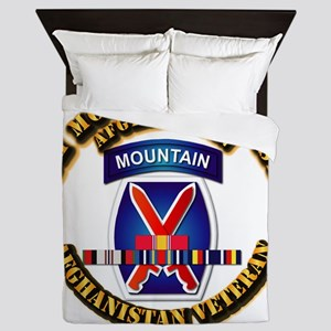 Army - 10th Mountain Div w Afghan SVC Ribbons Quee