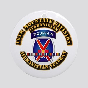 Army - 10th Mountain Div w Afghan SVC Ribbons Orna