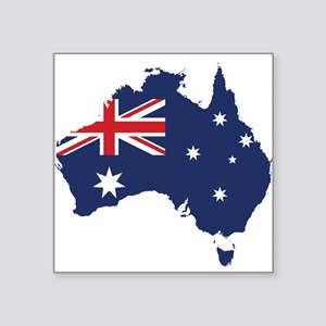 """Flag Map of Australia Square Sticker 3"""" x 3"""""""