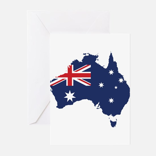 Flag Map of Australia Greeting Cards (Pk of 10)