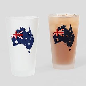Flag Map of Australia Drinking Glass