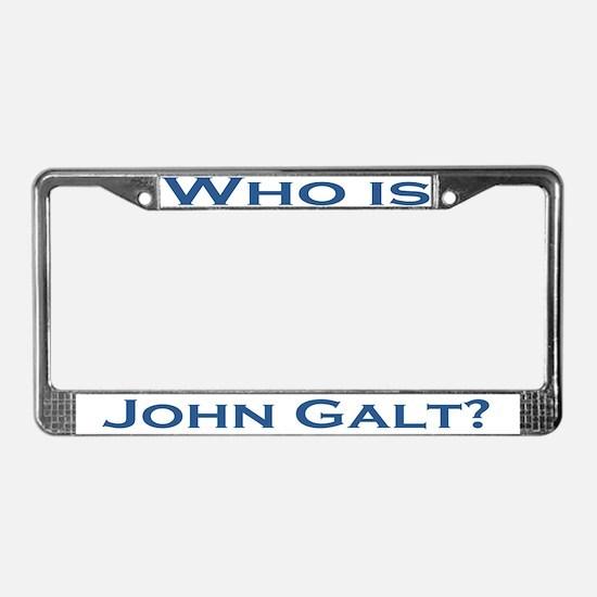Who is John Galt License Plate Frame BLUE