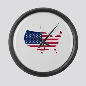 Flag Map of the USA Large Wall Clock