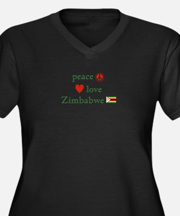 Peace Love and Zimbabwe Women's Plus Size V-Neck D