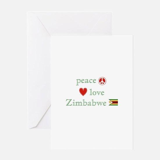 Peace Love and Zimbabwe Greeting Card