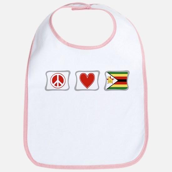 Peace Love and Zimbabwe Bib